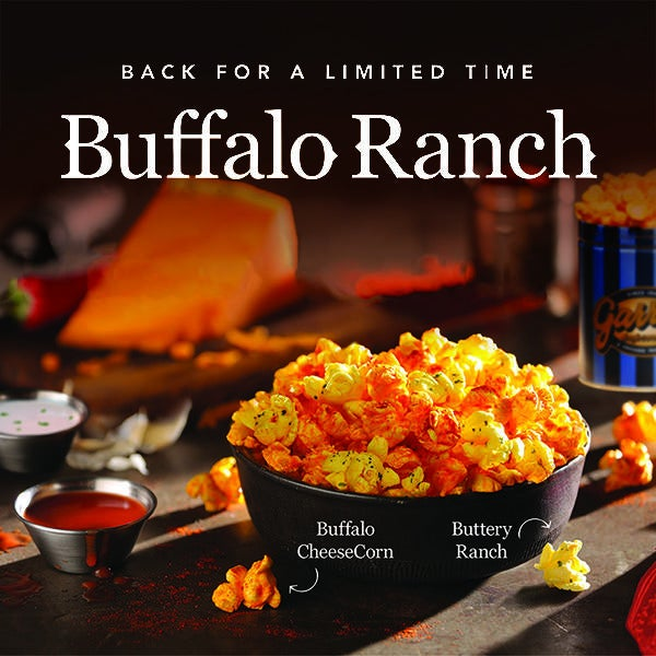 Garrett Popcorn Shops Buffalo Ranch Back for a Limited Time image