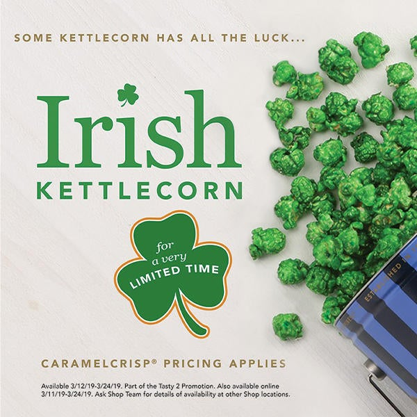 Garrett Popcorn Shops Irish Kettle Corn Available for a Very Limited Time image