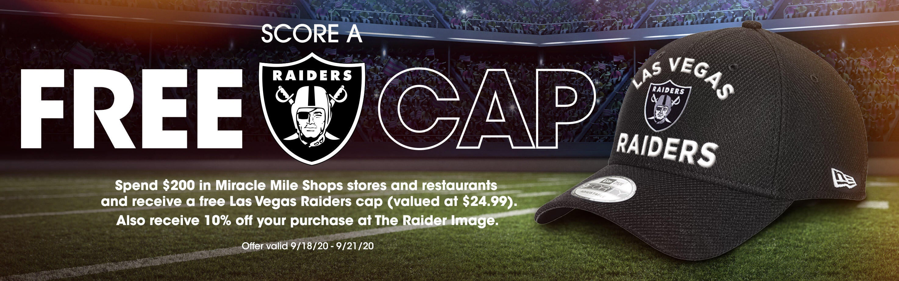 Free Las Vegas Raiders Cap With Purchase